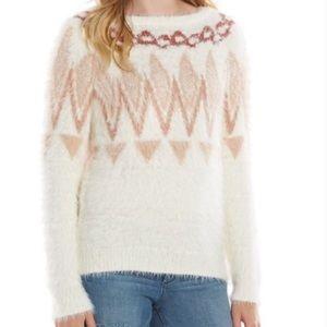 Lauren Conrad Fuzzy Eyelash Fair Isle Crew Sweater